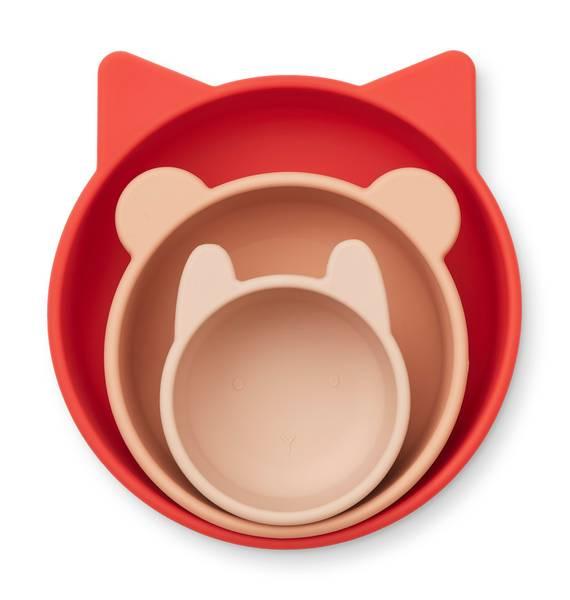 Bilde av Eddie silikonskåler 3 pk - Apple red/rose
